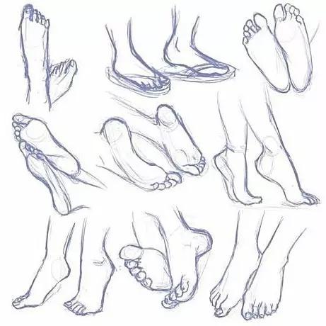 手绘 速写中手和脚的画法